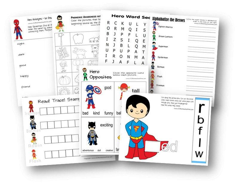 Super hero printables to practice opposites, word families, phonemic awareness, and more for prek, preschool, kindergarten, and first grade