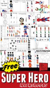 FREE Super Hero Worksheets - over 60 pages for preschool, kindergarten, toddler, and first grade kids to teach a variety of math and literacy skills #preschool #kindergarten #firstgrade