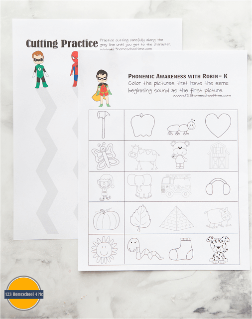 super hero worksheets for kids including cutting practice, coloring, alphabet, phonemic awareness and more