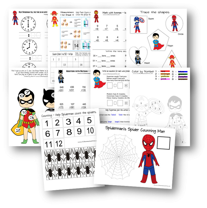 photo relating to Printable Superheroes titled Superhero Worksheets for Small children 123 Homeschool 4 Me