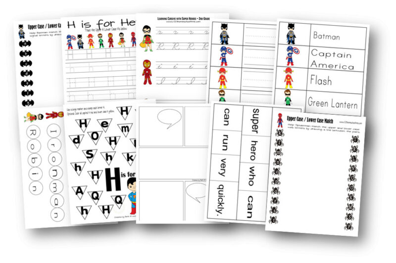 Superhero printables to practice writing alphabet letters and matching upper and lowercase letters