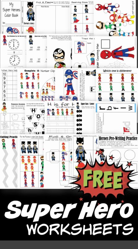 FREE Superhero worksheets - these free printable Super Hero printables are super cute to help toddler, preschool, prek, kindergarten, first grade, and second grade kids practice alphabet letters, clocks, counting, addition, word families, and so much more! #worksheetsforkids #preschool #superhero