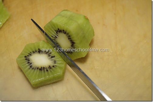 Peel and slice Kiwi