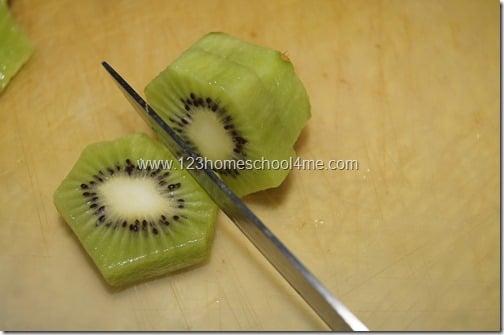 Peel and slice Kiwi
