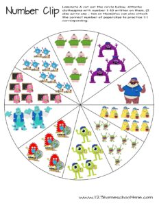 counting monster inc worksheets