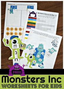 Monsters Inc Worksheets for kids