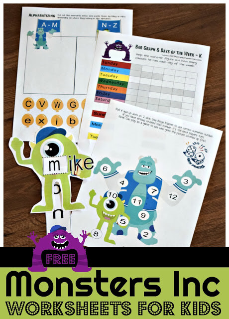 FREE Monsters Inc Worksheets for Kids - free printable disney worksheets make learning alphabet letters, counting, numbers, addition, days of the week, clock, reading, and so much more for toddler, preschool, kindergarten, and first grade kids FUN. #preschool #kindergaten #freeworksheets