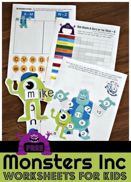 Monsters Inc Worksheets for kids