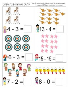 disney-princess-subtraction-worksheets