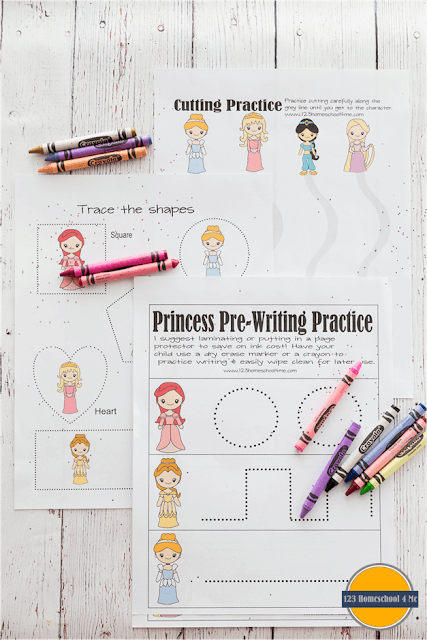 FREE Disney Princess Worksheets for Kids - toddler, preschool, preK, kindergarten, and first grade activities to help them practice counting, addition, building words, which one is different, opposites, word families, matching, and more.