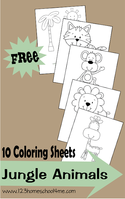 Free Jungle Animals Coloring Pages 123 Homeschool 4 Me