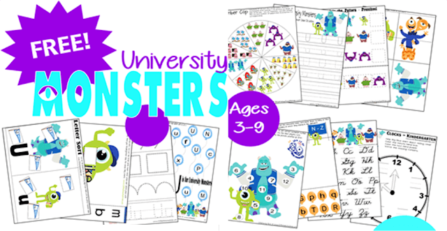 free monsters inc worksheets for kids