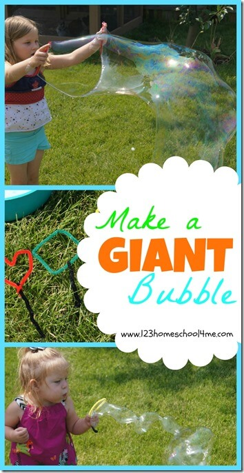 BEST Bubble Solution for a GIANT Bubble - Great summer activity for kids that should be on your bucket list. Try our bubble solution that makes GIANT bubbles in your own backyard. Your kids are going to love it! (kids activities, summer fun, play, best homemade bubble recipe)