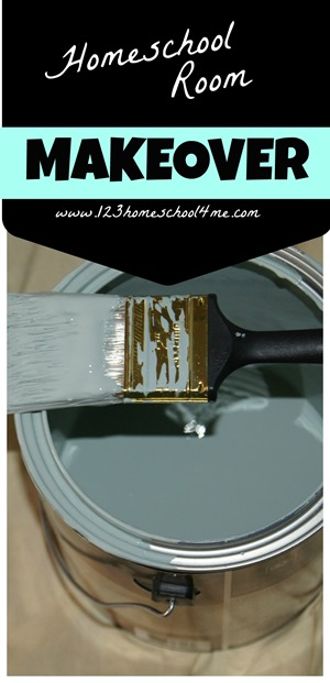 Homeschool room makeover - great idea for how to organize your homeschooling area to make it pretty, practical, and organized!