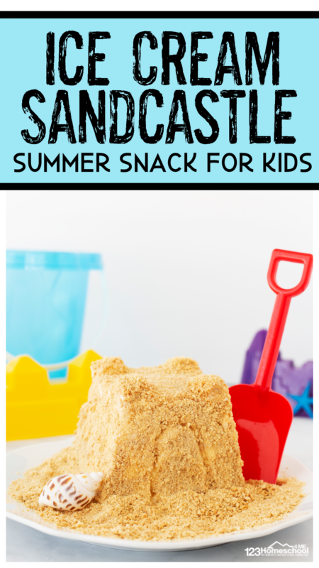 Kids will love eating this summer snack that looks like a sandcastle, but tastes like a yummy ice cream novelty. This sandcastle activity for kids is a quick and easysummer snack for kids! You will used a clean sandcastle mold, ice cream, vanilla wafers, and assorted candy to decorate. This is an EPICbeach activity your kids will be talking about for years to come. So add this fun idea to your bucket list to make (and eat) thissummer activity for kids!