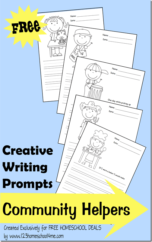 FREE Community helpers Writing Prompts, perfect for back to school to inspire kindergarten, first grade, 2nd grade, 3rd grade, and 4th grade kids to write