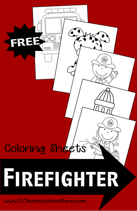 FREE Firefighter Coloring Pages are great for toddler, preschool, prek, and kindergarten age kids for fire awareness week.