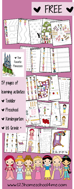 FREE Disney Princess Worksheets for Kids - kids will have fun practicing math, literacy, colors, alphabet letters, counting, and more with these Princess themed free worksheets for toddler, preschool, preK, kindergarten, and first grade kids. #princessworksheets #preschool #kindergarten