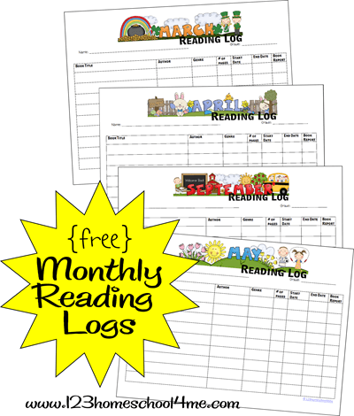 free printable monthly reading logs - these make a great tool to help kids track the books they've read for kindergarten, first grade, 2nd grade, 3rd grade, 4th grade, homeschool, summer reading, and more!