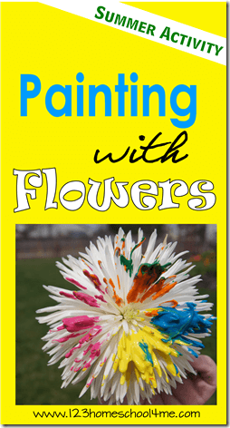 Painting with Flowers - this is such a fun summer kids activities perfect for adding to your summer bucket list!! This is lots of fun for toddler, preschool, prek, kindergarten, first grade, second grade, and third grade summer crafts for kids #kidsactivities #floweractivities #summerbucketlist