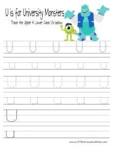 letter u tracing worksheets