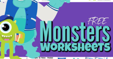 My kids have been over-the-moon excited for me to finish my University Monsters Worksheets. Thesemonsters inc worksheets have lots of learning activities for toddler, preschool, pre-k, kindergarten, first grade, and 2nd graders too. Whether you use thesesmonster worksheets to learn the days of the week, sort balloons by letter, read the mike word family, roll and add with Sulley, finish the pattern cut and paste, learn to tell time, or one of the other many options in these monsters inc activity sheets - these are sure to make learning fun! SImply print the inspired-bydisney worksheets and you are ready to go!