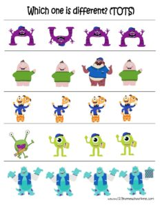 monsters universtiy worksheets which one is different