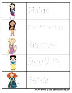 princess-kindergarten-worksheets