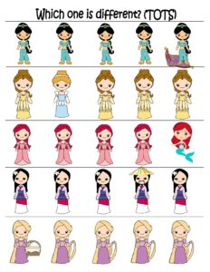 princess-worksheets-which-one-is-different