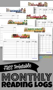 FREE Printable Monthly Reading Logs - help kids get excited about reading and keep track of their progress with these monthly themed reading charts #kindergarten #firstgrade #readinglog