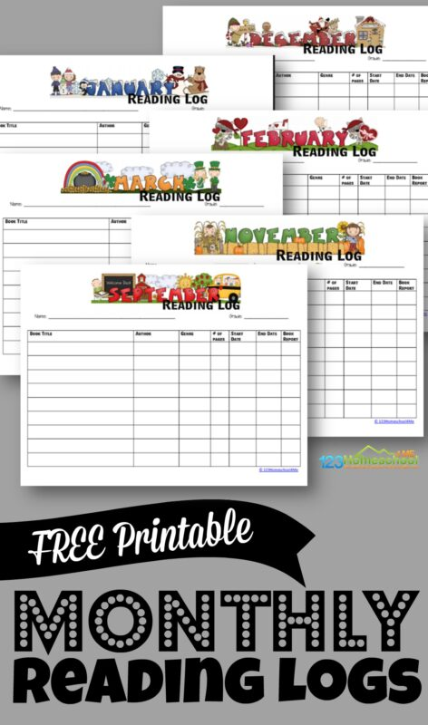 picture regarding Free Printable Reading Logs referred to as Free of charge Printable Every month Looking at Logs 123 Homeschool 4 Me