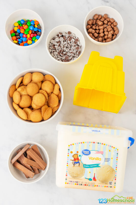 vanilla ice cream vanilla wafers clean sandcastle mold candy for decorations shovel - optional, for eating