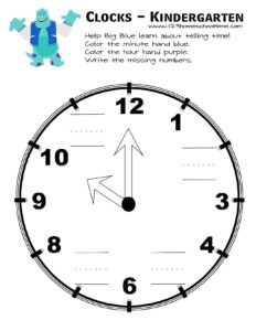 telling time activity with sulley