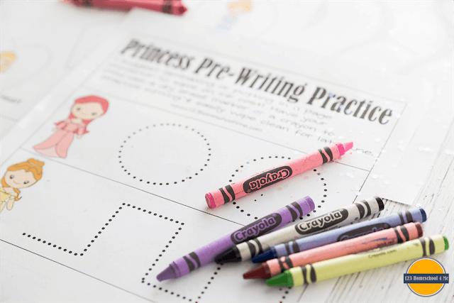 toddler, preschool, prek pre writing practice with princess worksheets for kids