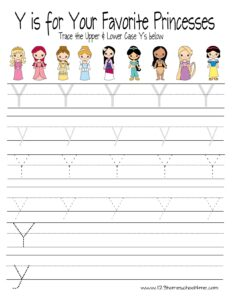tracing-letter-y-princess-sheets