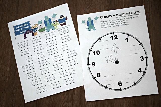 uppercase-lowercase-letter-worksheets-clocks-kindergarten-monsters-university
