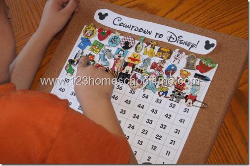Disney Countdown Ideas using Disney Pins