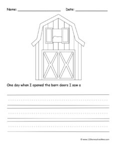 barn color and write free worksheet for kindergarten, first grade, 2nd grade, 3rd grade, and 4th grade students