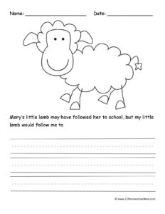 free farm worksheet to work on writing skills
