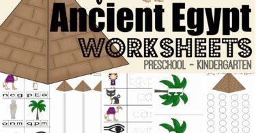 FREE Ancient Egypt Worksheets for kids - super cute, free printable Egypt printables for presschool and kindergarten age kids #preschool #kindergarten #worksheetsforkids
