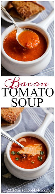 Bacon Tomato Soup - this is the BEST EVER tomato soup recipe. Even picky kids will love the flavor of this incredibly yummy soup. Plus they'll never know it is full of healthy veggies!