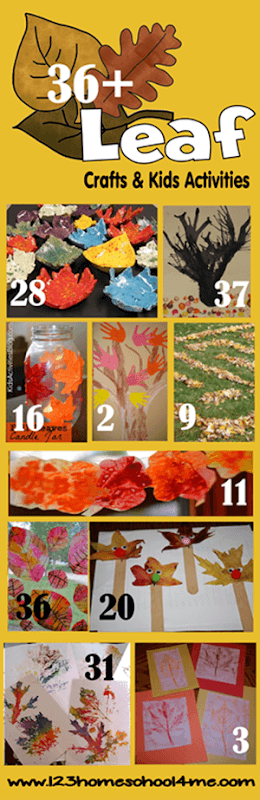36 Leaf Crafts and Kids Activities for Fall - so many really creative ideas and fall activities for kids #fall #craftsforkids #leaves
