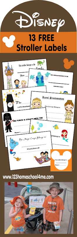 13 FREE Disney World Stroller Labels - pick your favorite disney stroller tag to print and label your stroller before you head on your disney vacation! These are super cute and will help you find your stroller from the other thousands there that look like yours! #disneyvacation #disneytips #disneyplanning