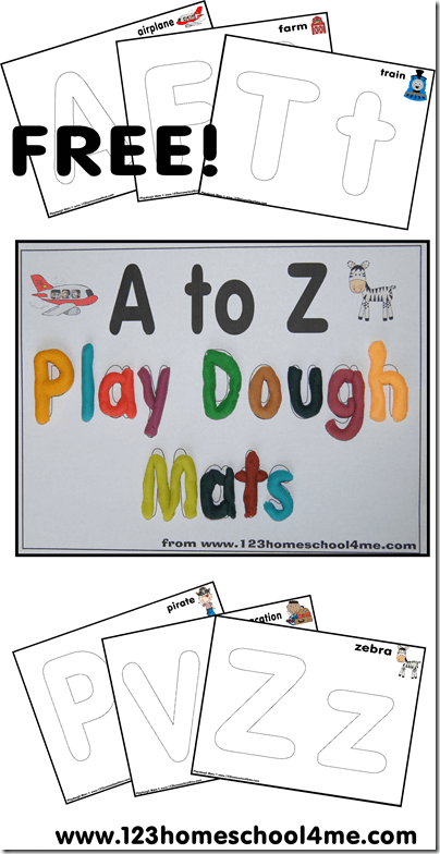 FREE Alphabet Playdough Mats -these free printables are great to help toddler, preschool, prek, and kindergarten age kids learn to make their letters in a fun, hands on way. These are great for summer learning, preschools, centers, and homeschooling