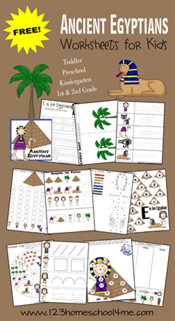 FREE printable preschool worksheets to help toddler, preschool, kindergarten, and 1st grade kids practice alphabet and math with a fun Egypt theme. #preschool #kindergarten #worksheetsforkids