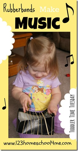 Toddler Activity making music with Rubberbands. This is a great extension activity for toddlers with older siblings studying Medieval Times in homeschool Social Studies.