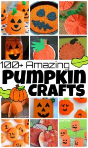 100 Amazing Pumpkin Crafts for October - lots of fun pumpkin art projects, pumpkin activities, pumpkin printables and more for preschoolers, toddlers, kindergartners, first grade, 2nd grade, 3rd grade children. Such cute fall crafts for kids.