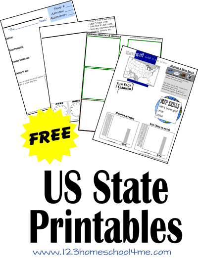 FREE 50 US State Worksheets for kids learning about the united states in homeschool during elementary age kids.