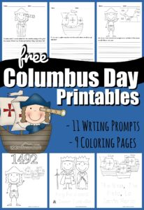 Celebrate Columbus Day on Monday, October 12th with these super cute, free  Columbus Day Printables. We've included both simple Columbus day coloring pages for toddler, preschool, pre k, and kindergarten age children AND Columbus day writing prompt pages for first grade, 2nd grade, 3rd grade, 4th grade, 5th grade and 6th grade students to practice creative writing exploring themes from this famous explorer who discovered the Americas.
