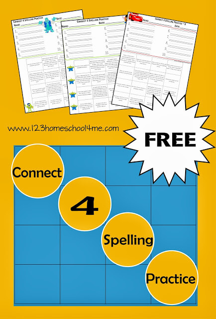 FREE printablespelling practice worksheets that have a fun connect 4 theme to make practicing spelling words engaging! There are lots of different themes in these spelling worksheets to appeal to kindergarten, first grade, 2nd grade, 3rd grade, 4th grade, 5th grade, and 6th grade students including monsters ink, toy story friends, lightening mcqueen, princesses, little mermaid, and so many more. Simply download pdf file withspelling printables and you are ready to write and practice your weekly spelling words. There are 16 clever ideas for practicing spelling words on each sheet!